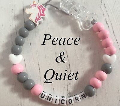 Personalised Dummy Clip💗Wooden🦄Dummy Chain💗unicorn🦄grey💗pink🦄girl 💗 #PWP