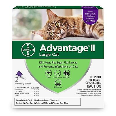Advantage II for Large Cats Over 9 Lbs. Flea, 2 Month Supply / 2 Doses AUTHENTIC
