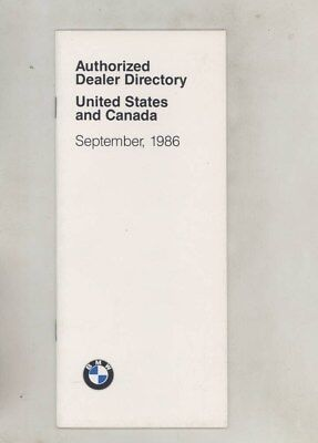 Sept 1986 BMW US & Canada Authorized Dealer List Directory Brochure 1987 wz0110