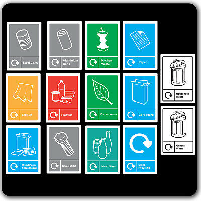 Recycling Sticker Waste Signage - Sign Home Wheelie Bin Window Decal Waterproof