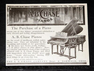 1905 Old Magazine Print Ad, A.b. Chase Pianos, Are The Result Of Skillful Care!