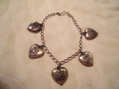 Antique Vintage Sterling Silver Puffy Heart Military Army Charm Bracelet