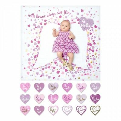 Mary Meyer E8 Girl Baby's First Year Milestone Swaddling Photo Blanket & Cards