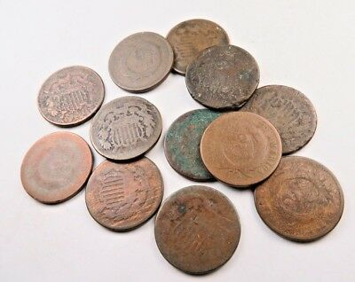 (3) Two Cent Piece (2 Cent) Lot // 3 Coins // Low Grade