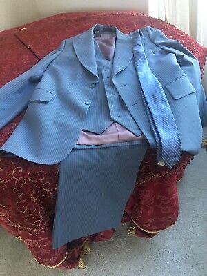 Vintage man's Pin Stripe Suit , Vest ,pants And Tie 80's wide bottom pants used