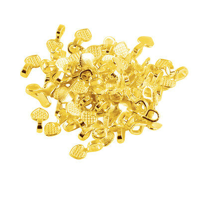 100pcs Heart Glue On Bails 16x8mm DIY Connector Pendant Golden Craft Beading