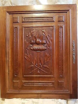 Antique French door panel cabinet wood carved gothic nouveau pair salvage