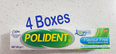 Polident Denture Adhesive Cream Flavour-Free 4 boxes of 60g each