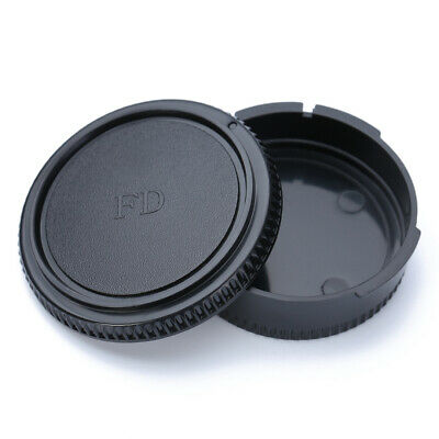 Rear Lens Cap + Front Body Cover Protector For Canon FD Camera Black