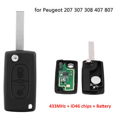 2 Buttons Keyless Entry Remote Key 433MHz ID46 For Peugeot 207 307 308 407 807