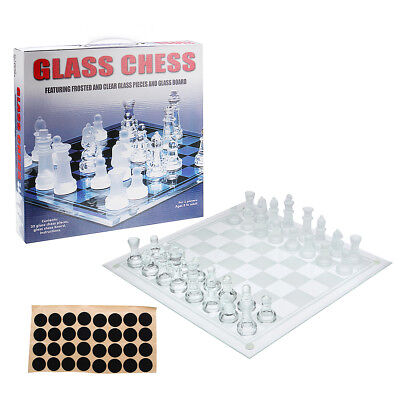 Glass Chess Set Large 35x35 Cm Home Office Decor Board Game Frosted Deluxe Gift