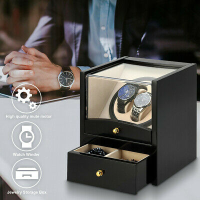 Watch Winder Display Box Automatic Rotation Storage 2+2 Grids Wooden Cases