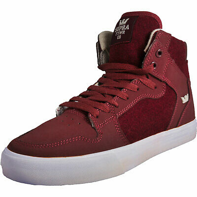 Supra Vaider Mens Classic Casual Retro Hi Top Skate Shoes Burgundy
