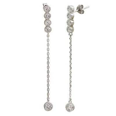 Womens 925 Sterling Silver Rhodium Plated Dangling CZ Earrings