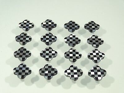 Natural Mother Of Pearl / Black Onyx Chess Cross Shape SIZE CHOICE Loose Stones