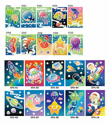 Sea Theme Sand Art Card (50 cards) and Space Theme Sand Art Card (50 cards) ..