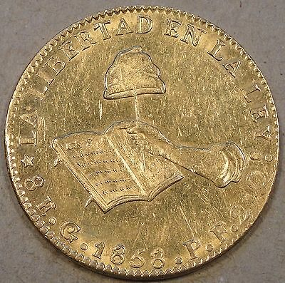 Mexico 1858 Go Gold Eight Escudos Unc-BU some light hairlines
