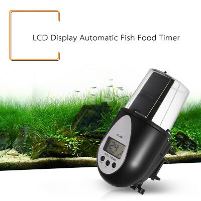 LCD Fish Feeder Timer Display Automatic Digital  Auto Food Feeding Aquarium Tank