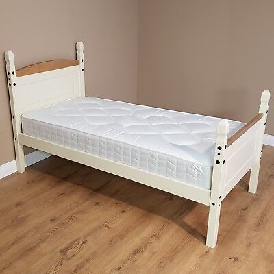 Corona Cream 3ft Single High Foot End Bed Solid Pine by Mercers Furniture