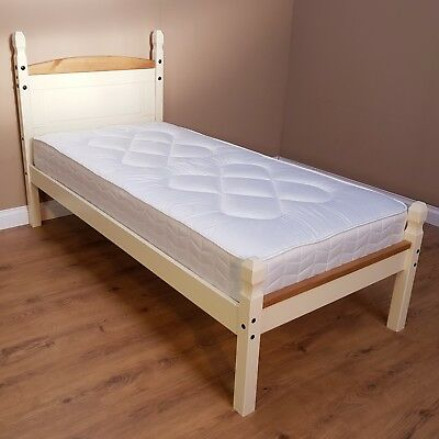 Corona Cream 3ft Single Low Foot End Bed Solid Pine by Mercers Furniture
