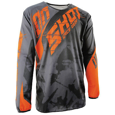New Adult Shot Devo Squad Grey Neon Ktm Orange Motocross Mx Enduro Mtb Dh Jersey
