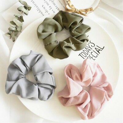 Lady Women Ties Girls Charm Hair Scrunchies Bands Pure Color Elastic