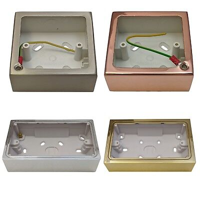 Surface Mounted Pattress Box Single Double Brass Steel Chrome Black Gold Copper