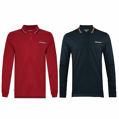 Mens Lambretta Long Sleeve Tipped Smart Retro Scooter Polo Shirts Sizes M to 4XL