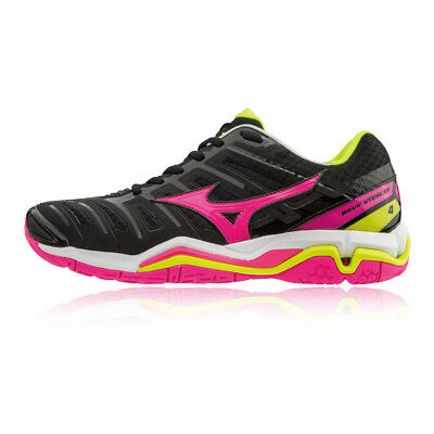 Mizuno Womens Wave Stealth 4 Indoor Court Shoes Black Pink Sports Trainers cd2d456d9b