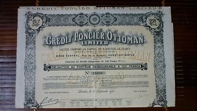 ACTION TITRE OBLIGATION DU CRÉDIT FONCIER OTTOMAN Limited - Empire Ottoman  1910