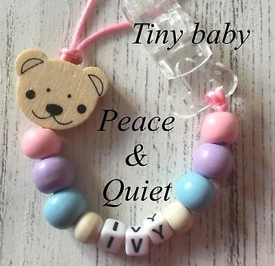 Personalised Dummy Clip💗Wooden💗Dummy Chain💗premature💗tiny Baby💗girl💗 #PWP