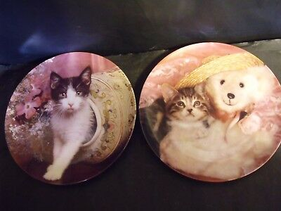 2 Picture Purrfect - Crestley  Cat Plates