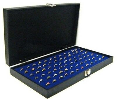 Wholesale Solid Top Lid 72 Ring Blue Jewelry Display Box Storage Case