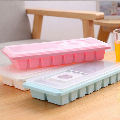 16 Cavity Ice Cube Tray Box w/ Lid Cover Drink Jelly Freezer Mold Mould Maker