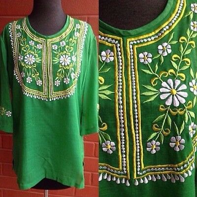 Vtg 60s 70s Gorgeous Green Embroidered Blouse Tunic Very Boho Mod
