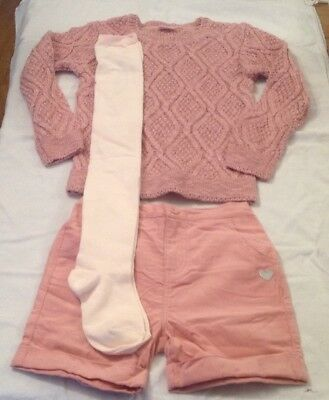 Girls Chloe Louise 3Piece Jumper Shorts &Tights Set 6-7 Yrs Rrp £29.99