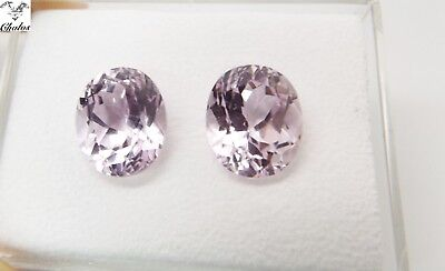 2x Kunzit - Oval facettiert PAAR/PAIR 13,35ct.10,0x12,0x8,0mm (1436M)