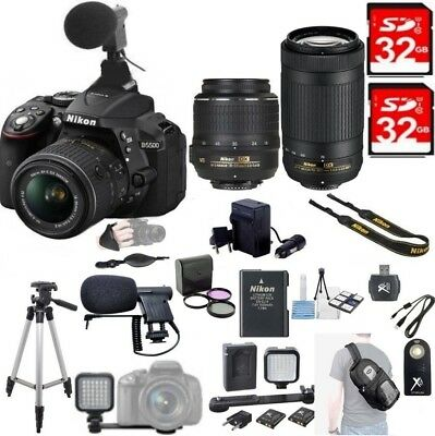 Nikon D5500 24.2MP DX DSLR Camera w/AF-P 18-55mm VR+70-300mm ED Lens 2x 32GB+XTR