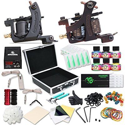 Tattoo Machine Complete Kit Professional Lining Shading Body 2 Gun 6 Ink Colors