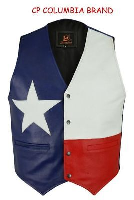 New Texas Flag Color Leather Vests 2019 Stock All Sizes Hi Quality Cp Brand