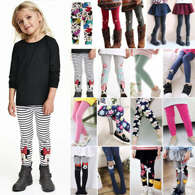 Child Kids Girls Leggings Print Full Length Casual School Pants Stretch Trousers