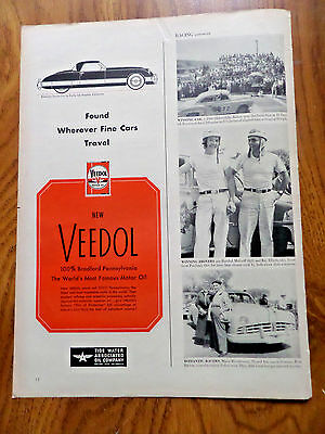 1950 Veedol Motor Oil Ad  American Sports Car by Kurtis Los Angeles California