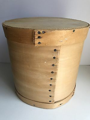 "Vintage 11"" Round Wooden Cheese Box Bent Wood Storage Container"