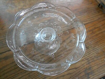 vintage clear embossed roses cake plate stand server