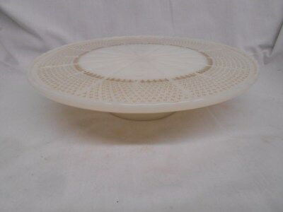 vintage white with gold tone design cake plate stand server