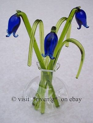 BLUEBELLS@grass@VASE@BUNCH OF Flowers@Glass GIFT Set@Permanent buds arrangement
