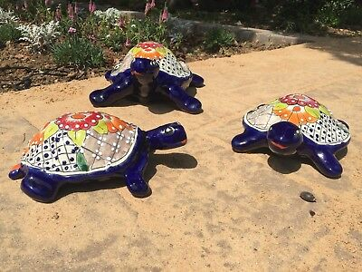 Talavera Mexican Pottery -  Animals - Blue Green Turtles (Set Of 3)