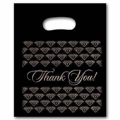"100 Small Black Thank You Merchandise Plastic Retail Handle Bags 7"" x 9"" Tall"