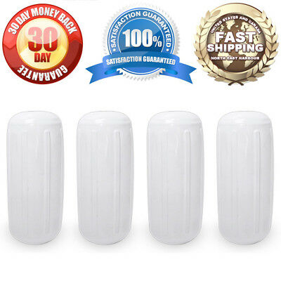 "4 NEW RIBBED BOAT FENDERS 6"" x 15"" WHITE CENTER HOLE BUMPERS MOORING PROTECTION"