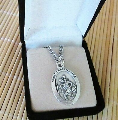 "St Christopher Medal Pendant Necklace 24"" Chain ITALY Silver Plate"